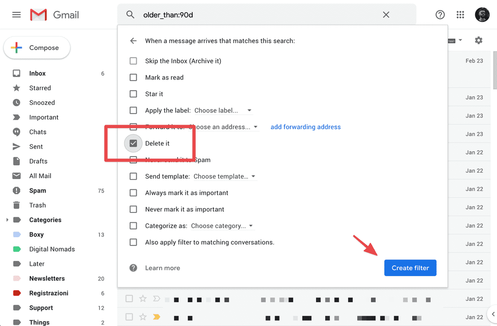 gmail delete automatically 2